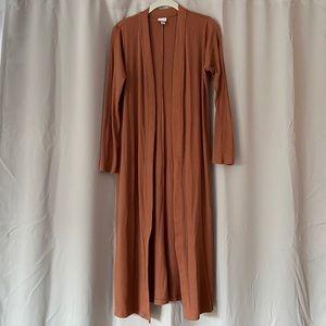 Rust long ribbed cardigan